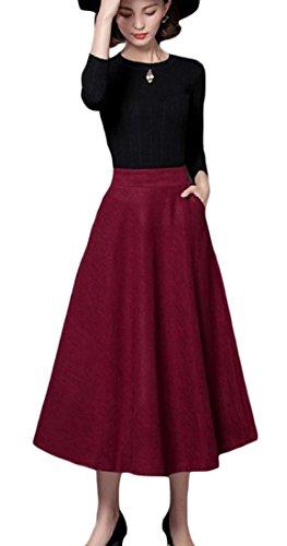 Skirt Wool Suit Red (FieerWomen Wool-Blend High Waist Winter Fall Long Plus Size Mid Long Slim Fit Wool A-Line Pencil Skirt Wine Red XL)