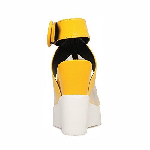 Amoonyfashion Kvinna Hook-and-loop Peep Toe Kick-häl Ko Läder Diverse Färg Sandaler Gul