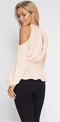 Jeune Printemps Col Dames Spcial Shirts Party lgant Manches Haut Loisir Manche Uni Style Blouse Rose Mode Off Shoulder O Et Long Blouse qgE00Ox