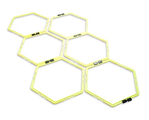 Unlimited Potential Hexagonal Speed & Agility Training Rings Tennis Soccer Football Basketball Training Aid Carrying Bag (Yellow, 12 Rings)