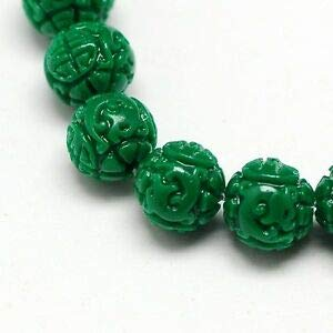 Green Carved Dragon Ball Manmade Coral 11mm Round Beads 6pc Crafting Key Chain Bracelet Necklace Jewelry Accessories Pendants ()