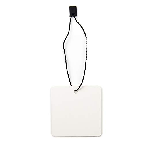 Hang Tags with Strings (Square) - Combo Pack 100 White Cardstock Swing Tags with Black Nylon Fasteners