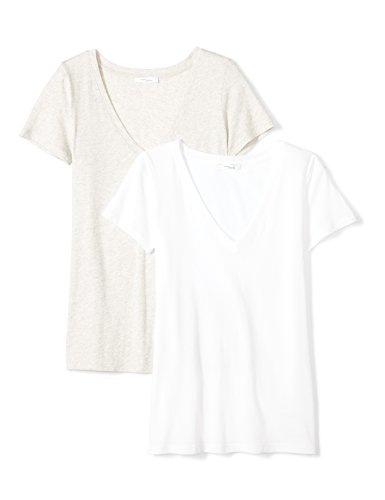 Daily Ritual Women's Tissue Cotton Short-Sleeve V-Neck T-Shirt, 2