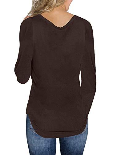 Casual shirts Autunno V Pullover Lunga Sweater Unita Maglioni T Maglieria Manica ulein Moda Fox Donne Sottile Scollo Jumper Primavera Fr e Tinta qZvIx1Fw