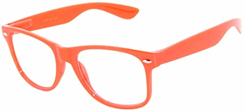 Retro Style Classic Vintage Sunglasses Clear Lens Colored Frame - Frame Glasses Orange