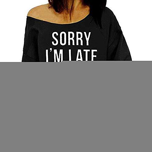 Wintialy Women Plus Size Letter Print Long Sleeve Sweatshirt Tops Blouse Shirt -