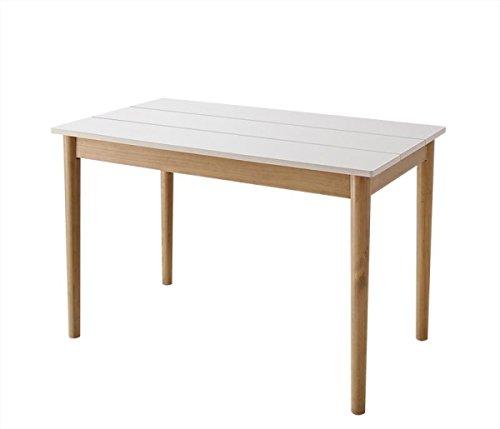 KAWAII DESIGN ダイニングテーブル(W115) ホワイト×ナチュラル【AC072168】 B07DVVBFF7W115
