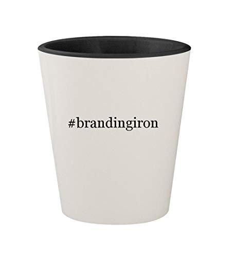 (#brandingiron - Ceramic Hashtag White Outer & Black Inner 1.5oz Shot Glass)