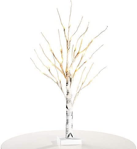 EAMBRITE 2FT Snow Bonsai Tree Lights Lighted Tabletop Artificial Small Tree Snow Dusted for Indoor use Tabletop Tree Light for Home Decor