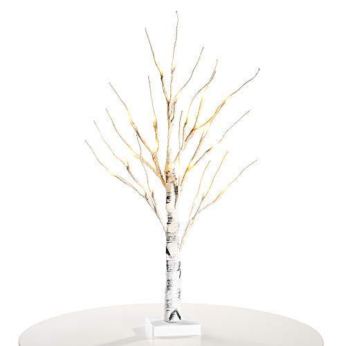 Zanflare Birch Tree Lights, 0.6M/23.6 Inch 24 LEDs Battery Operated Desk Tree Light, Warm White Bonsai Tree Light, Silver Birch Twig Tree for Christmas, New Years, Easter, Home, Party, Wedding (Easter Tree)
