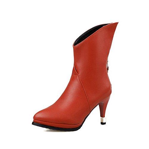 AllhqFashion Damen Stiletto Mitte-Spitze Rein Reißverschluss Stiefel, Blau, 43