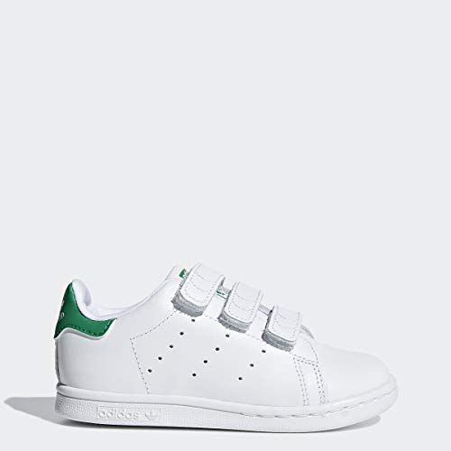 adidas Originals Baby Stan Smith Cloudfoam Sneaker, Footwear White/Footwear White/Green, 10K