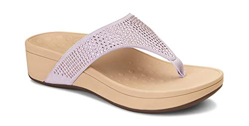 Vionic Women's Naples Platform Sandal - Toe Post Sandals with Concealed Arch Support Lavender 11 W US ()