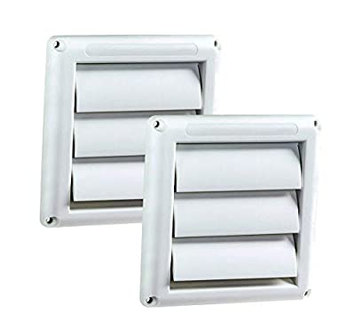 Plastic Dryer Vent Cover 6 Inches - Stops Birds Nesting In Dryer Vents White Louvered Outdoor Dryer Vent Cover(2 pack)