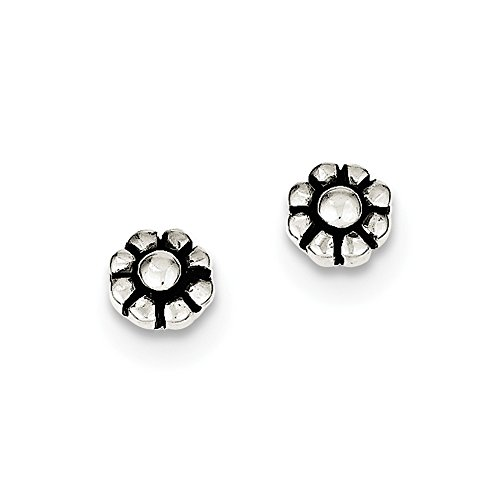 Solid 925 Sterling Silver Antique-Style Flower Stud Earrings (5mm x 5mm) (Stamp Silver Antique Style Sterling)