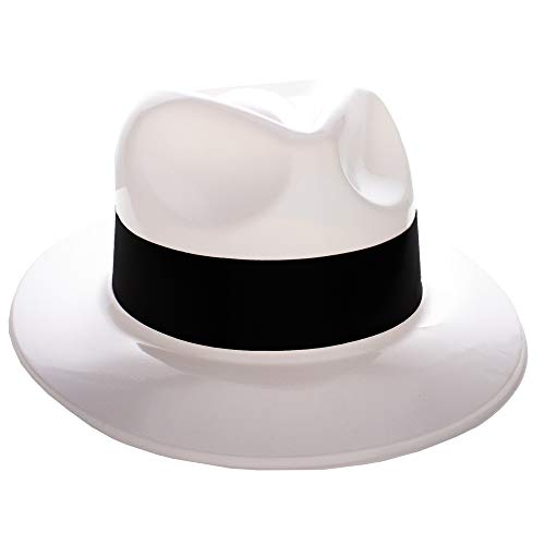 (Windy City Novelties Gangster Hat Fedoras (White w/Black Band) 12 Pack)