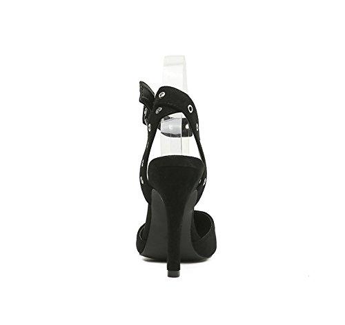 A Baotou Avec 5cm De Mot summer Talons Bien 8 Thirty Chaussures Sandales Des Hauts À Rivetés five Black Khskx Unique Un Métalliques p0qw6wB