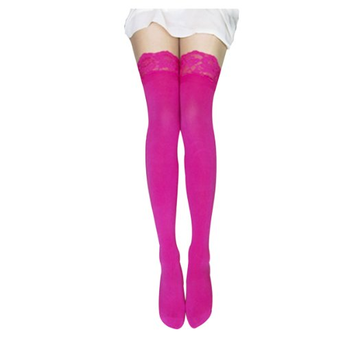 FUNOC Sexy Women Lace Top Thick Opaque Thigh High Stockings (Hot Pink) (Pink Spandex Sheer Stockings)