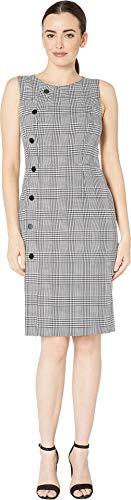 (Tahari by ASL Women's Sleeveless Plaid Sheath Dress with Side Button Detail Black/Ivory 6)