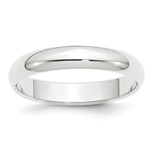 Platinum 4mm Half-Round Wedding Band Ring Size 9.5