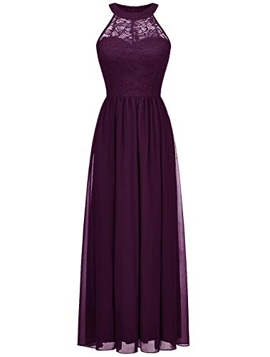 Wedtrend Halter Floral Lace Long Chiffon Bridesmaid Dress Cocktail Party Formal Maxi Dress WT0201GrapeXL