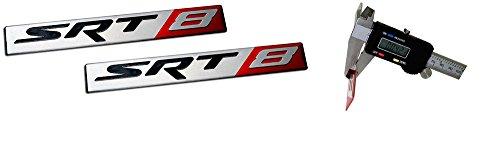 V6 To V8 Swap (2 x (Pair / Set) SRT8 Street Racing Technology ALUMINUM Emblem Badge Nameplate Logo Decal Rare (NOT ABS PLASTIC) for Dodge Challenger Charger Magnum Chrysler 300C Jeep Grand Cherokee 6.4L)