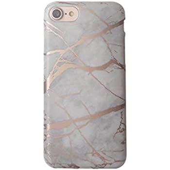 Amazon Com White And Rose Gold Chrome Marble Case