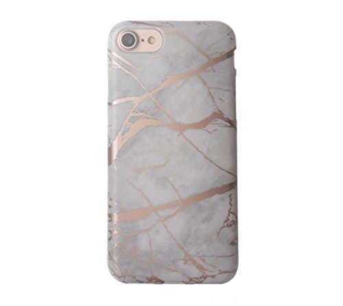 White and Rose Gold Chrome Marble Phone Case Protective TPU for iPhone 6 PLUS 6S PLUS by CASESALAMODE (Rose Chrome)