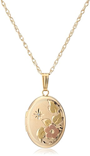 14k Yellow Gold-Filled Flower Oval Locket with Diamond-Accent, ()