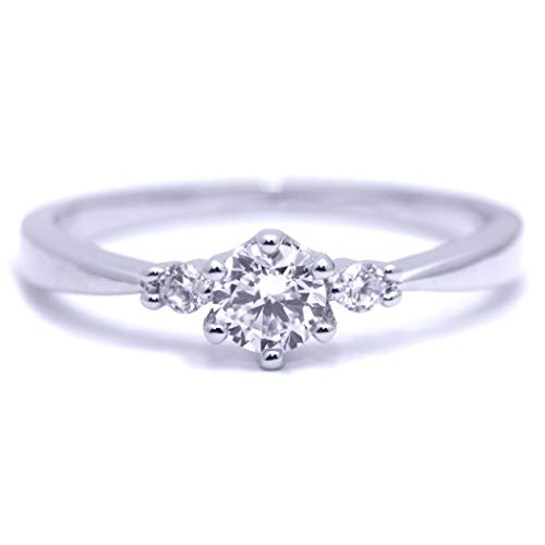 (Gieschen Jewelers 'Radiant' 14K White Gold-Plated Three-Stone CZ Crystal Ring, Size 8)