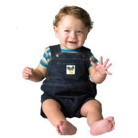 Under The Nile Lap Tee with Denim Overall, Blue/Stripe, 0-3 Months (Pant Stonewashed Denim Set)