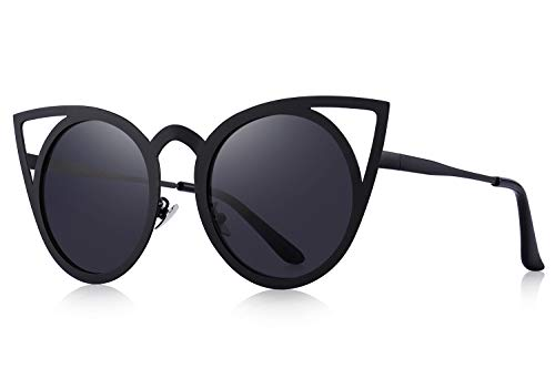 MERRY'S Cat Eye Sunglasses Round Metal Cut-Out Flash Mirror Lens Metal Frame Sun glasses S8064 (Black, 50)