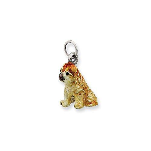 .925 Sterling Silver Enameled Shar Pei Dog Charm Pendant