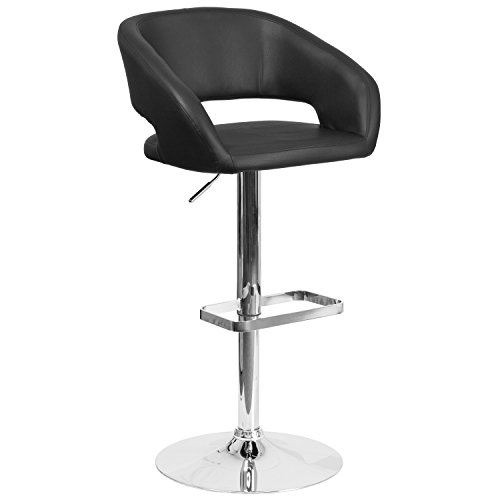 - Flash Furniture Contemporary Black Vinyl Adjustable Height Barstool with Chrome Base