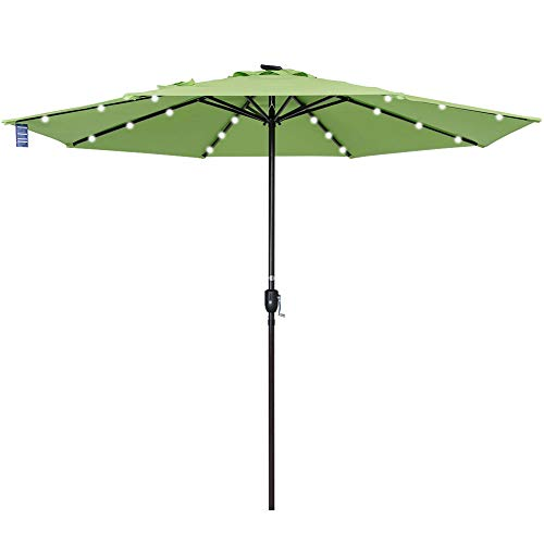 Sundale Outdoor 10 ft Solar Powered 24 LED Lighted Patio Umbrella Table Market Umbrella with Crank for Garden, Deck, Backyard, Pool, 8 Steel Ribs, Recharge for Phone (Green)