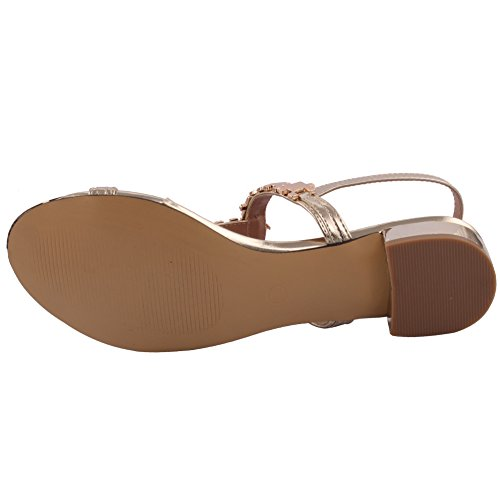 Unze Neue Frauen Grimbsy T-Bar Schlinge zurück Sommer Beach Party Slip on Get Together Metallic Details Karneval Flache Sandalen Größe 3-8 - 8Y103-82 Gold