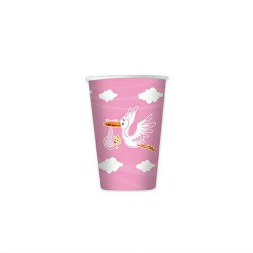Bicchieri 80cc cicogna nuvola rosa 10pz