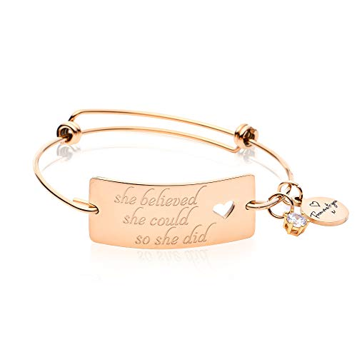 FREDERICK JAMES 'She Believed She Could So She Did' Bracelet - 18K Gold - Expandable Jewelry | Inspirational Bracelets for Women to Provide Strength & Motivation (She Believed She Could So She Did Meaning)