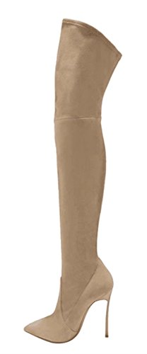 Boots Beige Extreme Sex Evening Stiletto dress Party Heel Knee For The Over Pointed Toe High Women's wvfxpAHqW
