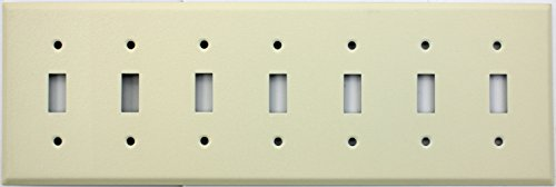 Ivory Wrinkle Seven Gang Wall Plate - Seven Standard Toggle Switches