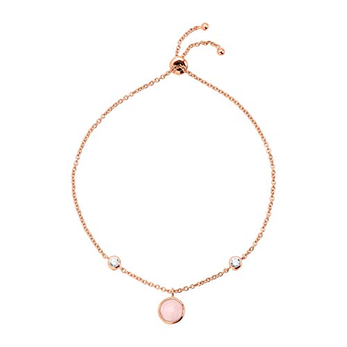 Silpada 'Thread Lightly' Bolo Chain Bracelet with Natural Rose Quartz & Cubic Zirconia in 18K Rose Gold-Plated Sterling Silver
