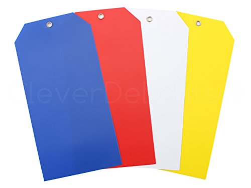 (100 Pack - CleverDelights Large Plastic Tags - 6.25