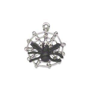 Enamel Spider Charm (Charm silver-plated