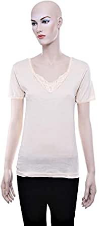 Mariposa Mltblc 636 Big Lace T-Shirt For Women - S, Beige