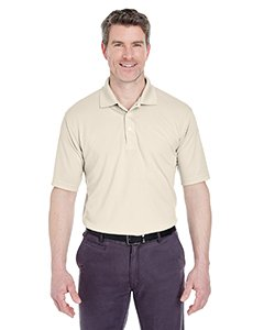 UltraClub Men's Cool & Dry Stain-Release Performance Polo L Stone (Stain Release Stone)