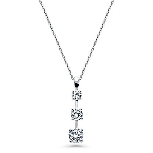 Rhodium Plated Sterling Silver Cubic Zirconia CZ 3-Stone Graduated Pendant Necklace 16