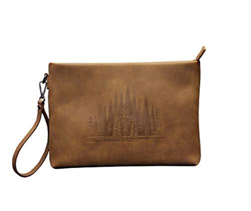 Handheld Casual Clutch Daypacks Large Zhrui Briefcase Brown Men's Handbag Capacity Organise Bag Envelope qUnxwZ0g