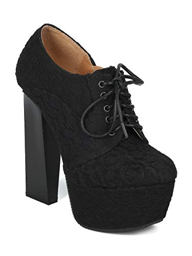 (Women Fabric Almond Toe Oxford Platform Lace Up Cigar Heel Bootie - AI89 - Black (Size: 7.0))