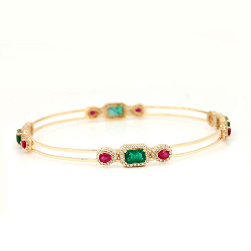(Genuine Emerald & Ruby Solid 18k Yellow Gold Bangle Bracelet Real Authentic Diamond Pave Fine Jewelry)