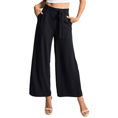 (Women's Comfy Pajamas Pant High Waist Wide Legs Casual Palazzo Lounge Pants Fuladelt)